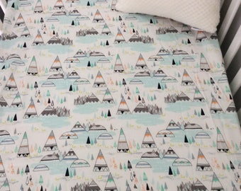 Fitted Cot Sheet // Standard Size Cot // 100% Cotton // Baby Bedding // Woodlands// Baby Blue // Mountains