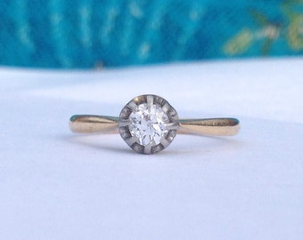 Antique ~ Vintage ~ Art Deco Old Diamond Solitaire Ring (0.35ct) ~ 18 ct Gold ~ Size P UK / US 7.5