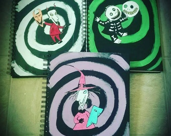 Sketchbooks, lock shock and barrel, nightmare, Christmas, blank pages, blank book, sketches, sketching, sketchbook, custom made, chalkboard