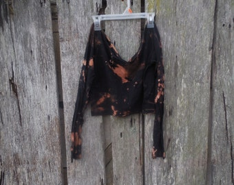 One of a kind custom bleached cut off ripped Black crop top v neck ultra short festival grunge post apocalyptic long sleeve t shirt large