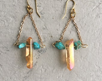 Crystal and turquoise dangle earrings