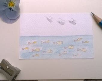 Greeting Cards Handmade Fish and Butterflies