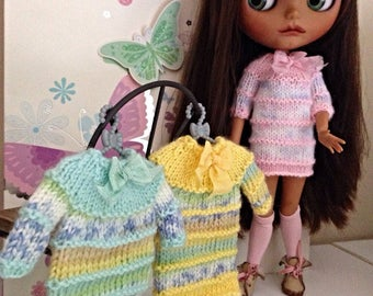 Hand knitted dress for Blythe, soft baby merino wool