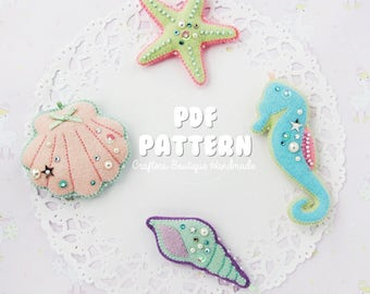 Seashell and Beach Felt Charms Tutorial PDF Pattern. Felt Toys Digital Pattern.