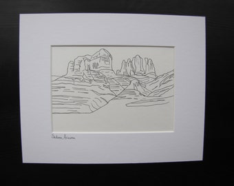 Sedona Mountain Ink Drawing, Sedona Arizona Drawing, Mountain Drawing, Line Drawing, Contour Ink Drawing