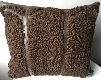 Brown sheep of Persia and recycled leather cushion