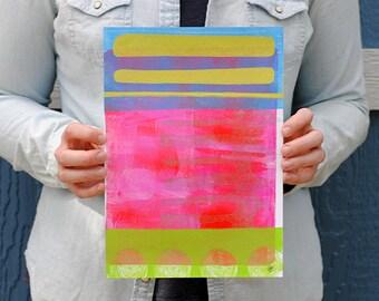 Abstract Modern Wall Art Monoprint Original Monotype Print Acrylic Gelli Plate Print Home Decor