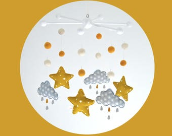 Mobile clouds pearls of rain and little stars - grey, white and yellow mustard