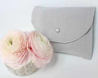 Light grey Kit storage, toiletry bag, clutch purse - grey - made from vintage fabric
