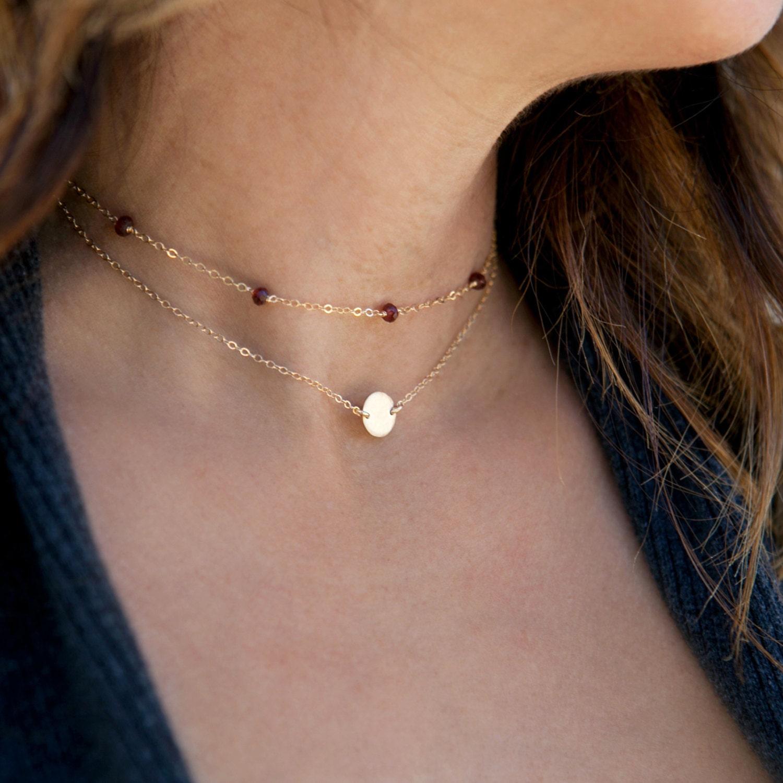 Choker Necklace Etsy: Birthstone Choker Necklace Dainty Gold By LEILAjewelryshop