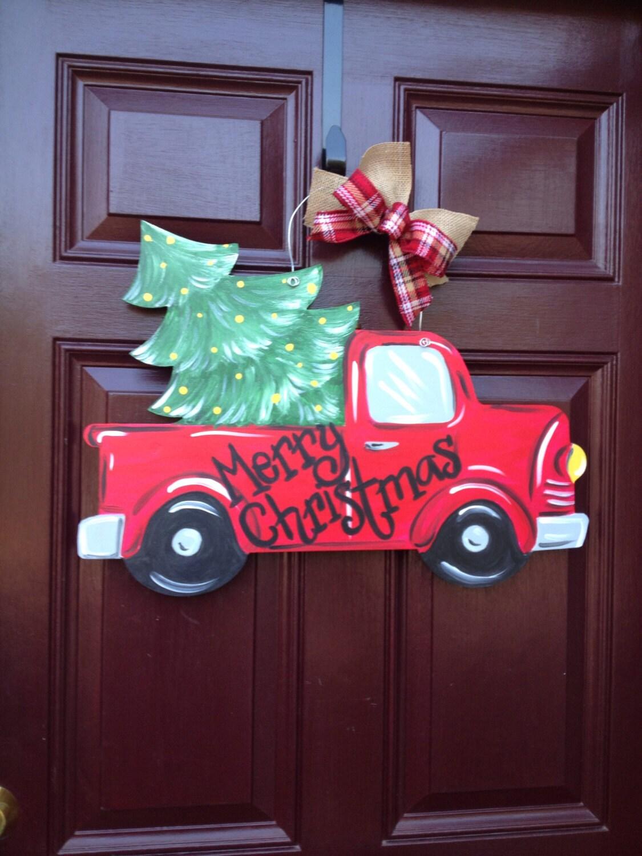 Christmas Truck Door Hanger Christmas Doorhanger Red Christmas