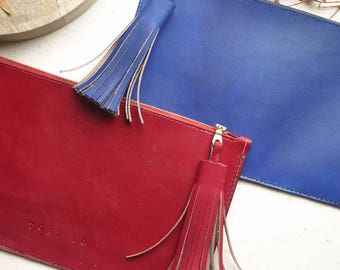 Tassel Clutch Bag, leather bag, leather tassel, handmade in England.