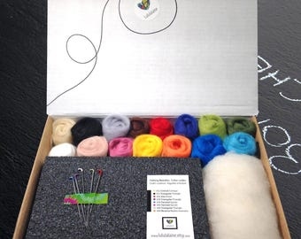 Needle Felting Kit / Roving assortment / Foam pad, 5 felting needles,1oz (28) of white Core Wool + 3oz (90gr) of Merino wool in 15 colors