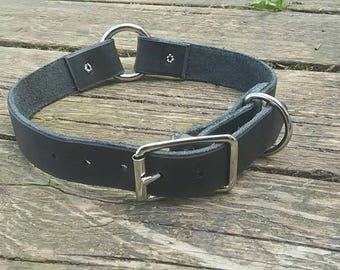 Black genuine leather dog collar with O ring