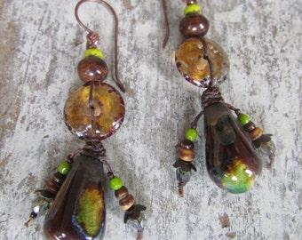 Earthy Woodland Rustic Earrings ~Scorched Earth Ceramic Earrings, Handmade Knotted Earrings, OOAK Primitive Jewellery, Forest Green Earrings