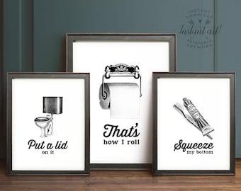 Funny Wall Art Bathroom Art Printable Art Set Of