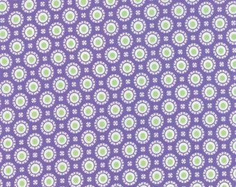 "Moda Fabrics ""Hi-De-Ho"" by Me and My Sister Designs - Purple with lime green dot-One Yard Cut - kids fabric, baby fabric."