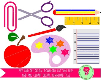 Teacher, School Designs SVG / DXF Cutting Files For Cricut Explore / Silhouette Cameo and PNG Clipart, Download, Commercial Use Ok