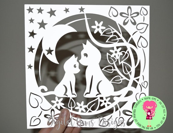 Mother And Child Cat Papercut Template Svg Dxf Cutting File