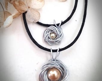 Mommy and Me, Mother Daughter Jewelry, Birds Nest, Pearl Necklace
