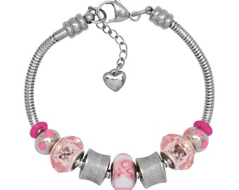 Timeline Treasures European Charm Bracelet Lampwork Glass Bead Treasures in Pink 2014
