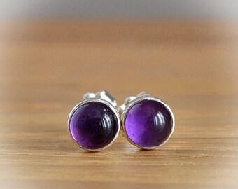 Amethyst Earrings, Amethyst Stud Earrings, February Birthstone, Gold Amethyst Earrings, gift: Sterling Silver, Gold Filled. 6mm, 8mm or 10mm