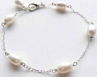 PEARL BRACELET - Sterling Silver Freshwater Pearl Bracelet - Silver Pearl Bracelet - Pearl Stackable Bracelet