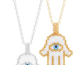 Hamsa Hand Necklace with Seed Beads - SNC337