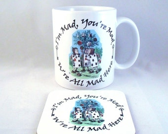Alice In Wonderland Mug (Cards painting roses red) - Coaster - Cup - Novelty - Xmas - Gift