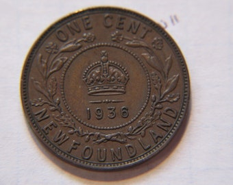 NewFoundLand 1936, Canadian Large Cent Coin