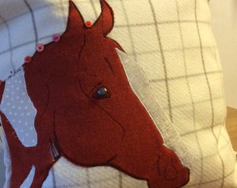 Appliqué Personalised bespoke horse cushion cover