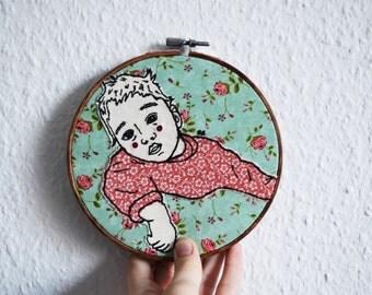 custom portrait,hoop art, unique gifts,memorial,hoop art,personalized home decor,embroidery,family portrait illustration,original art