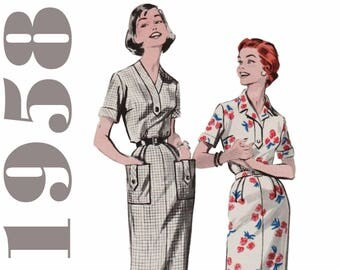 "Vintage Dress Pattern 1950s Straight Dress BUTTERICK 8512 bust 35"" Day Dress Sheath Dress Wiggle Dress With Pockets Retro Dress Pattern"
