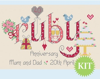 Ruby 40th Wedding Anniversary Customisable Cross Stitch KIT