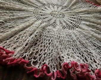 Vintage Crocheted Centerpiece Doily~23 Inches in Diameter~White Center & Lavish Ruffles w/Pink Edges~Large Doily~Hand-Made~Crochet~Linens