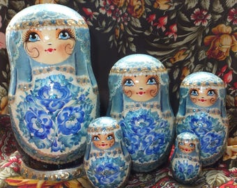 Russian matryoshka doll nesting babushka beauty girl Blue handmade