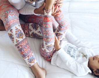 Floral leggings for mommy and me matching outfit, floral baby leggings, tribal baby legging, stretch pants, women leggings, colorful pants