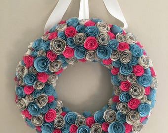 Paper flowers/Pink flowers/light blue flowers/cream pattern flowers/blue and pink paper flower wreath