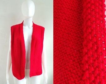 hand knit sweater vest size small/medium, 70s minimalist red acrylic handmade vest, acrylic yarn vest 1970s open front vest