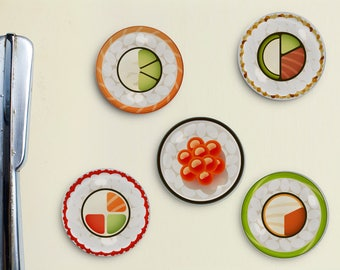 Sushi Magnets - Sushi Roll, Nigiri, Maki Roll, Salmon Roll, Tuna Nigiri, California Roll, Magnet, Organization, Office Magnet, Locker Magnet