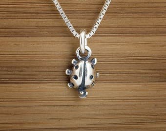 Ladybug Charm or Earrings -STERLING SILVER- Chain Optional