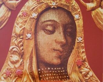 Polish Virgin Mary....hard, thick particle board plaque....Pamiatka...Krolowo Poleski