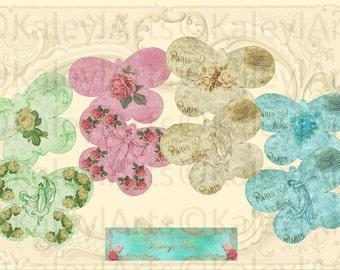 Paris..Butterfly, Karte, faltbar,Briefpapier, Epherma, romantic, danke karte, Einladung, Digital collage sheet,scrapbook,decoupage,printable