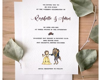 Enchanted Wedding Invitation set // beauty and the beast, wedding card, wedding rsvp, save the date, disney wedding, disney card, disney