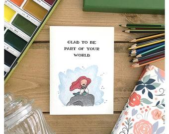 Little Mermaid Card // disney card, cute disney card, disney princess card, mermaid card, cute mermaid card, friendship card, greeting card