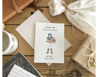 Captain America Card // captain america, funny love card, funny valentines day card, valentines day card, super hero card, anniversary card