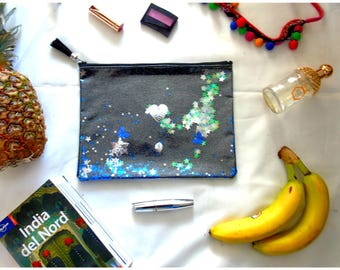 Magic black handbag clutch with stars and sequins scontillanti shakerabili