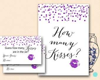 Silver Purple How many kisses, guess how many kisses, how many kisses game, how many kisses in the jar, Bridal Shower Games Printable BS426