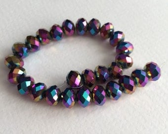 Chinese Crystal Faceted Rondelle Beads. 6 Inch Strand. 27 Beads. 6x8mm.