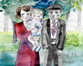 CUSTOM PORTRAIT of parents with BACKGROUND special gift, for grandparents, custom watercolor couple portrait painting